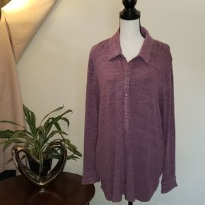 Westbound plum colored button up collared top